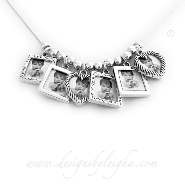 Picture Frame Charm Necklace with 6 Photo Frame Charms