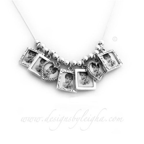 Picture Frame Charm Necklace with 7 Photo Frame Charms