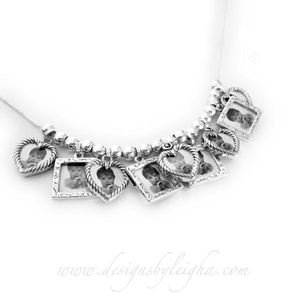 Picture Frame Charm Necklace with 9 Photo Frame Charms