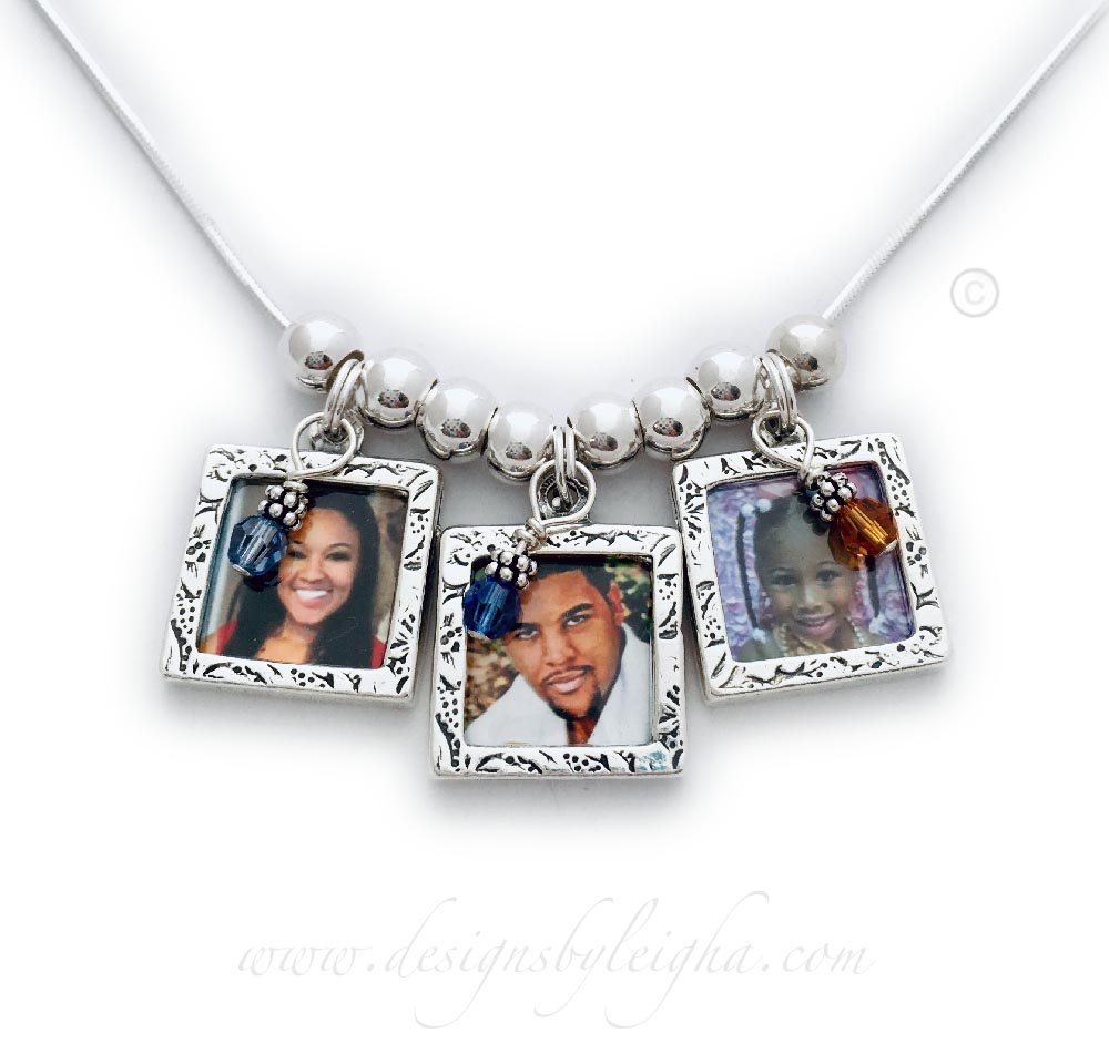Picture Frame Charm Necklace with 3 picture frames and 3 birthstone crystal dangles.