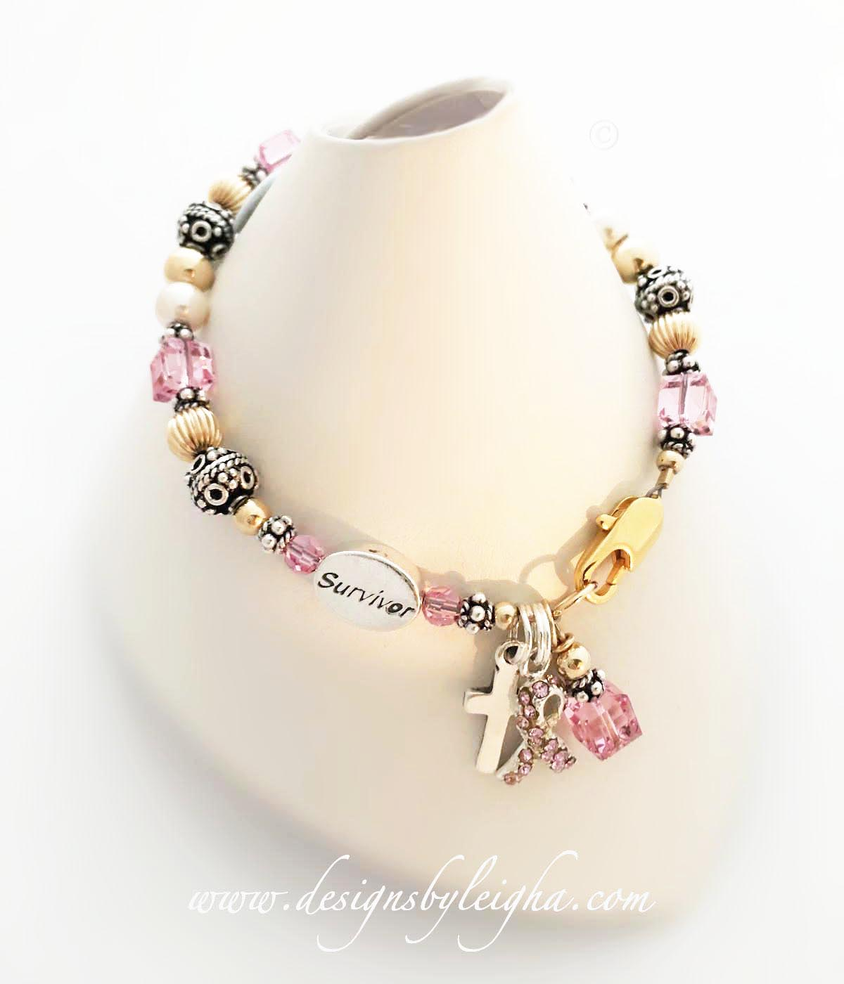 Breast Cancer Survivor Bracelet with a Survivor Bead, Ribbon Charm and Pink Crystals - DBL-MB-26