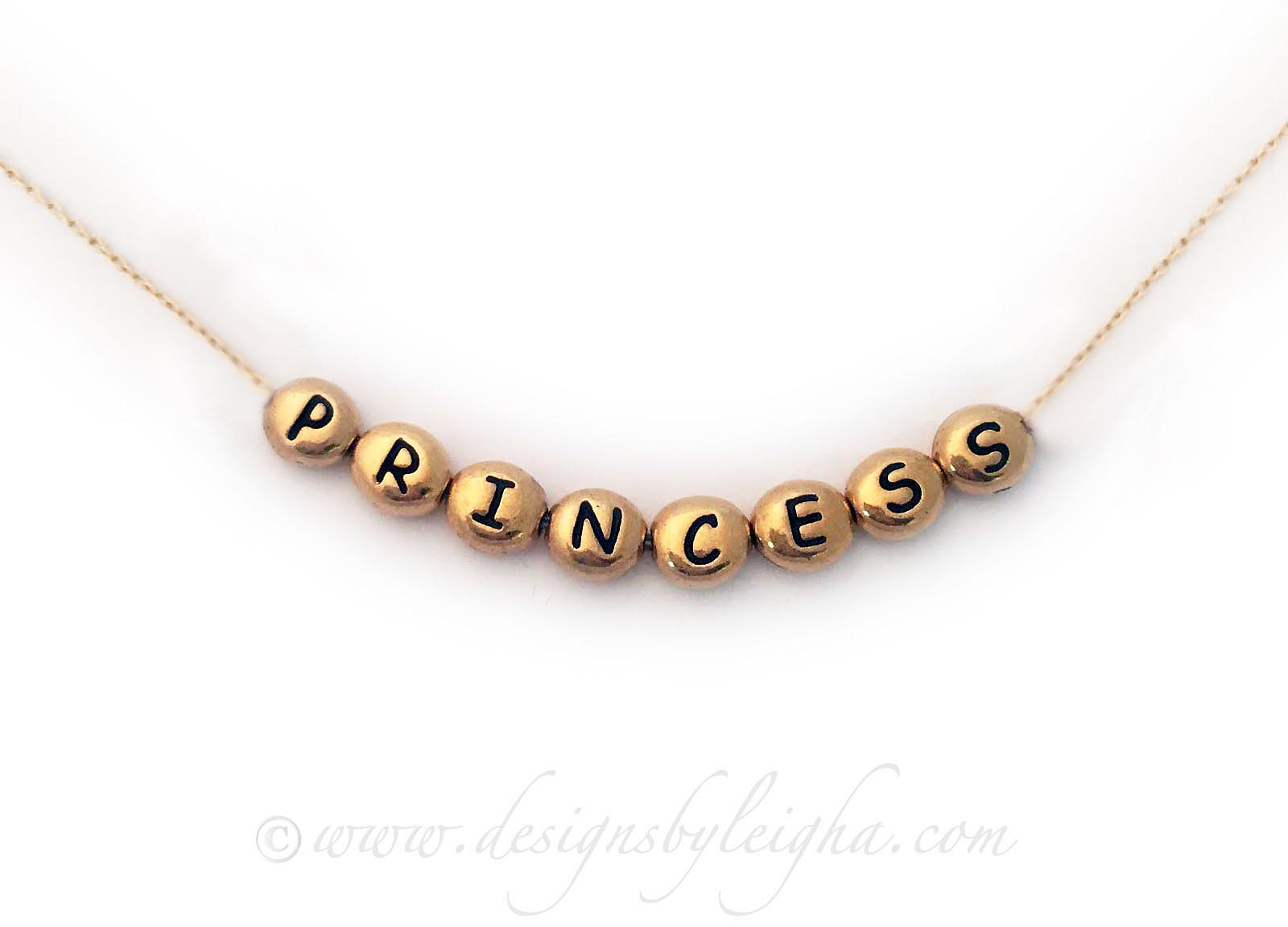 Item: DBL-NGold-Blocks-Oval-PRINCESS  14k gold plated necklace and 22k gold-plated letter blocks Gold Princess Necklace
