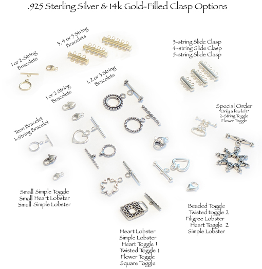 Clasp Options  .925 sterling silver & 14k gold-filled lobster, toggles and slide clasps
