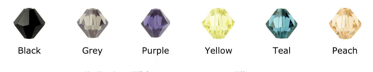 Swarovski Crystal Bicone or Diamond Shaped - Colors include: Black, Jet, grey, purple, yellow, teal, peach