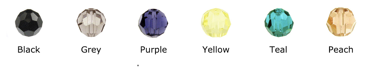 Swarovski Crystal Round- Colors include: Black, Jet, grey, purple, yellow, teal, peach