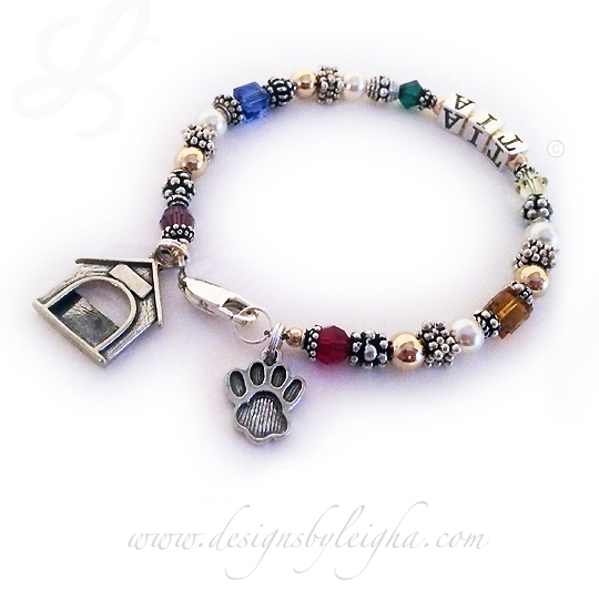 Rainbow Bridge Bracelet with an IN MEMORY bead, Paw Print Charm and a DOG HOUSE charm... we also have Cat Charms