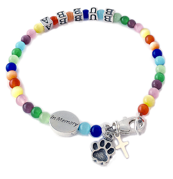 Rainbow Bridge In Memory Bracelet Paw Print Charm