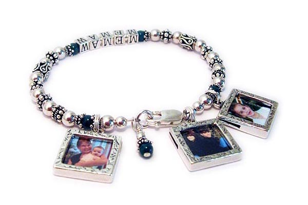 Jade Mothers Bracelet with MEMAW and Picture Frame Charms of grandkids