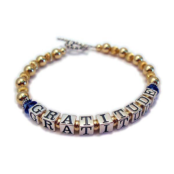 GRATITUDE bracelet with Gold beads and the inspirational message - Gratitude