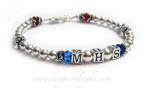 School Colors Bracelet (Pride and Spirit) MHS with Red White and Blue Crystals