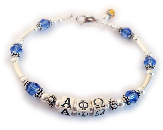 Alpha Phi Omega Crystal and Sterling Silver Bracelet with a Birthstone Charm
