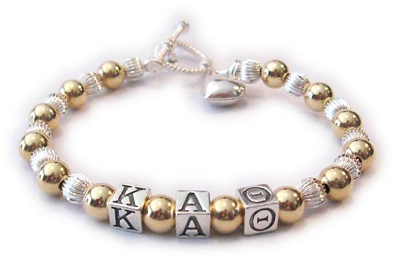 Gold and Sterling Silver Kappa Alpha Theta Bracelet