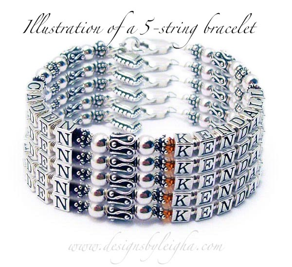 "This is an illustration of a 4-string bracelet. It is shown with ""8"" names but you can have any where from 1 name to 15 names on this design."