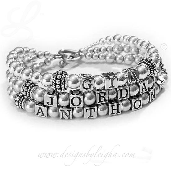 DBL-SS2-3	String Bracelet Gia, Jordan and Anthony 3-string Mother Bracelet with an upgraded Heart Toggle Clasp.
