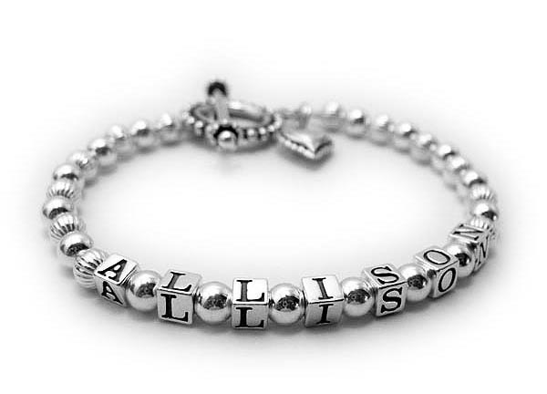 Allison personalized sterling silver bracelet with a beaded heart charm and a beaded toggle clasp. DBL-SS1-4.5mm