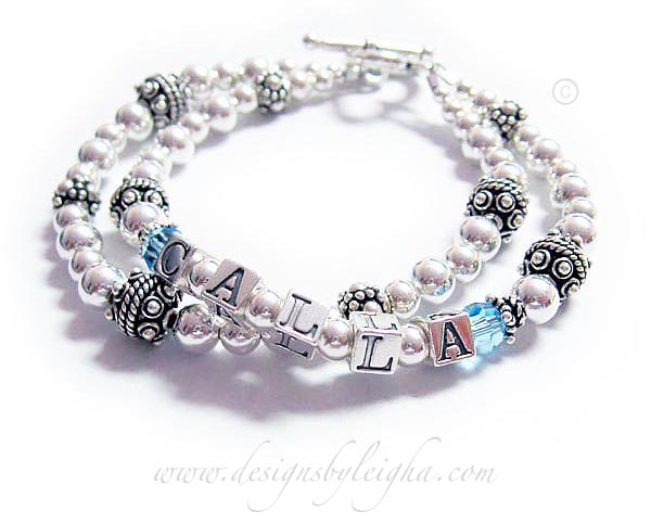 This is a 2 string Bracelet for Mommy shown with CALLA and Aquamarine Birthstone crystals before and after her name.