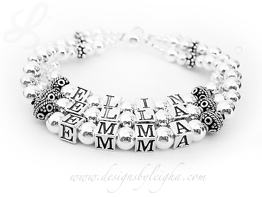 ELIN, ELLA, EMMA (no crystals) - 3 string Bali Sterling Silver Mother Bracelet. Shown on a 3-string slide clasp. - DBL-SS4-3names