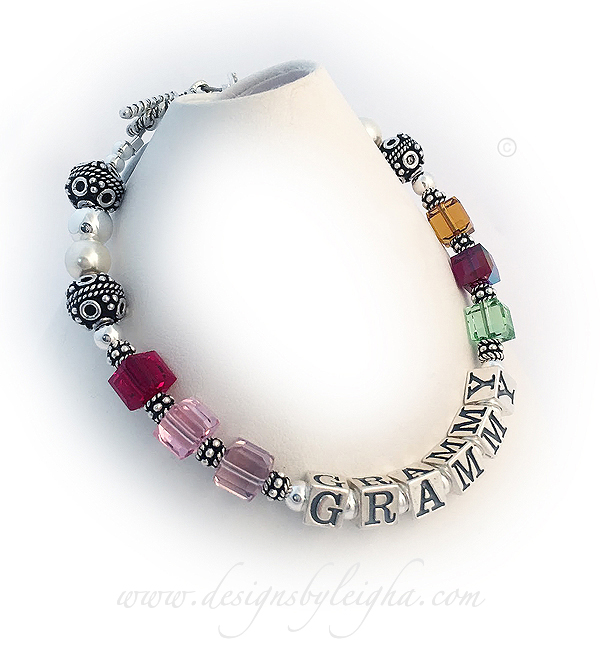 This is a GRANDMA Birthstone Bracelet with 6 birthstone crystals. I altered the design slightly so that we could get 3 birthstones on each side of GRAMMY. DBL-SS6-1	String BraceletOrder: Jul Oct Jun GRAMMY Aug Jan Nov