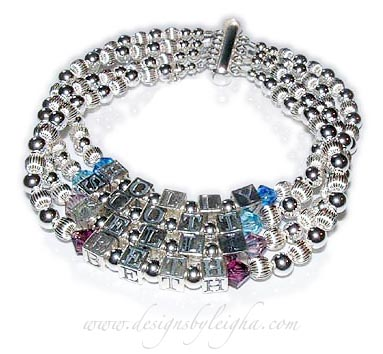 DBL-SS1-4	String Bracelet Holly, Scott, Kelli and Beth Birthstone Mothers Bracelet with a slide clasp.