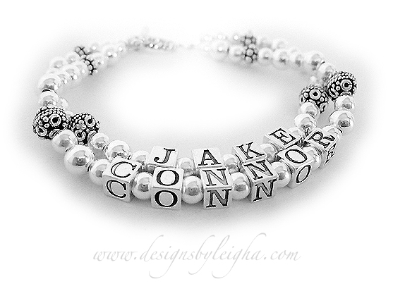 Jake & Connor - 2 string Bali Sterling Silver Mother Bracelet. Shown with a Twisted Toggle Cladsp.
