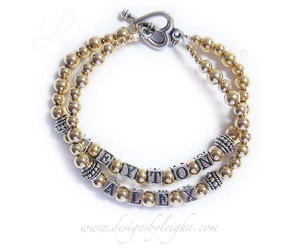 This LEYTON and ALEX bracelet is shown with the gold bead upgrade and they also added a Heart Toggle Clasp.