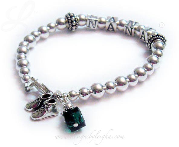 Nana Bracelet with baby boy booties and a birthstone crystal charm- DBL-SS2-1string