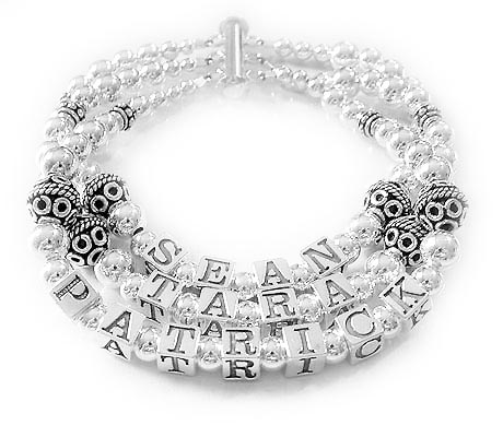 Sean, Tara and Patrick - 3 string Bali Sterling Silver Mother Bracelet - DBL-SS4