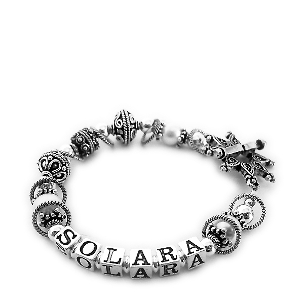 Solara Pandora Style Bracelet with large Pandora style beads shown with a Star Clasp. DBL-SS3-1string