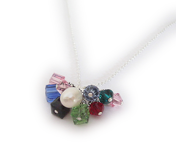 Sterling Silver Birthstone Necklace with lots of birthstone charms for each child and grandchild.