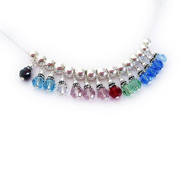 Sterling Silver Birthstone Necklace with 14 birthstones -  January, March, March, April, June, June, June, July, August, August, September, September, September, December