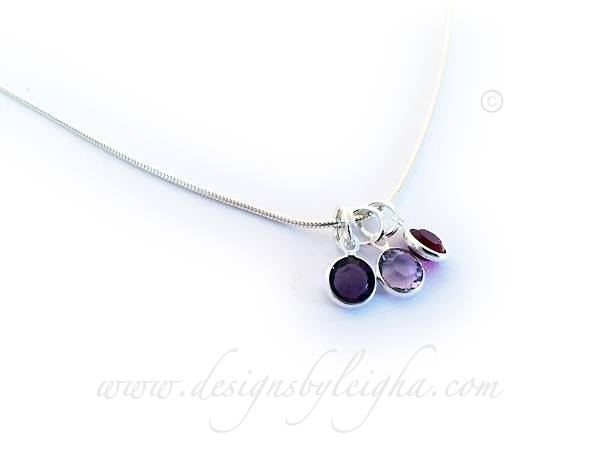 DBL-BN-N11 Swarovski Channel Birthstone Necklace shown with 3 birthstone charms - February, June, February