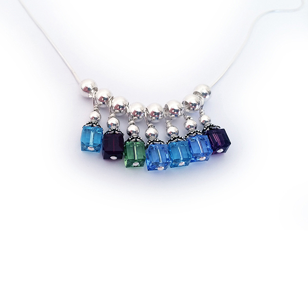 Sterling Silver Birthstone Necklace with 7 birthstones -  March, January, August, December, March, December, February