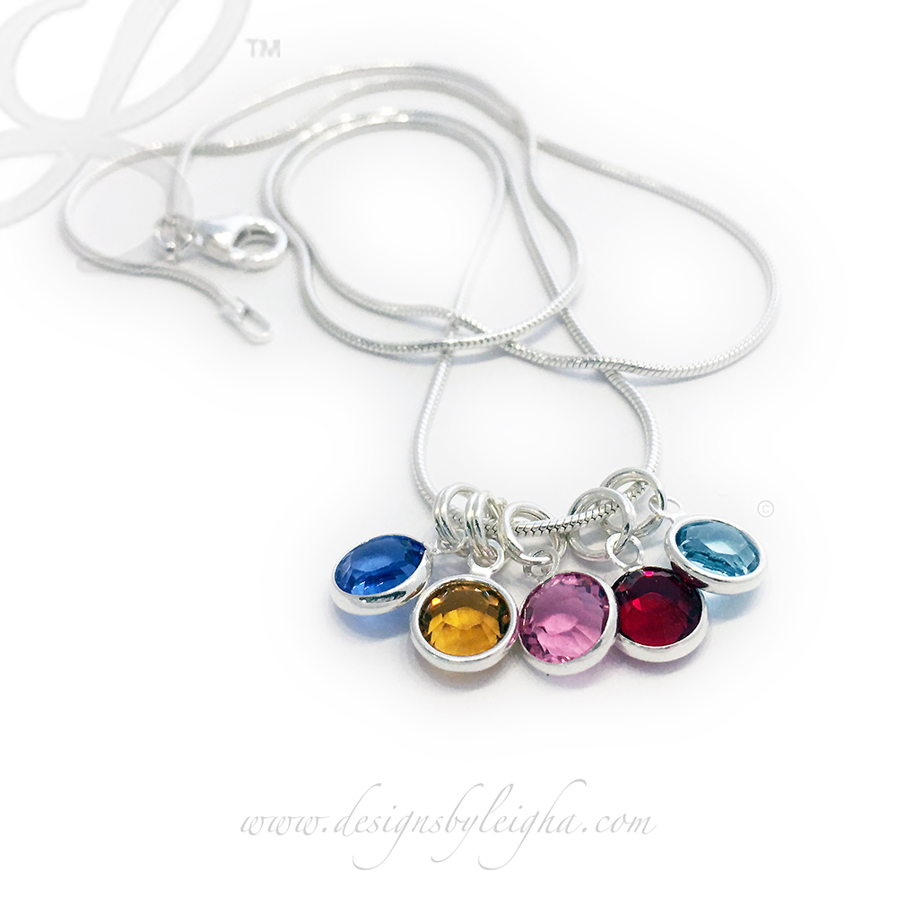 DBL-BN-N11  Swarovski Crystal Channel Birthstone Necklace shown with 5 birthstone charms - September (Sapphire), November (Golden Topaz), October (Opal), January (Garnet) and March (Aquamarine). You can add additional charms yourself, in the future with this snake chain.