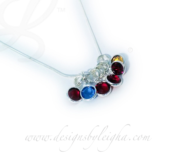 DBL-BN-N11  Sterling Silver Birthstone Necklace with 4 birthstones - January January August February
