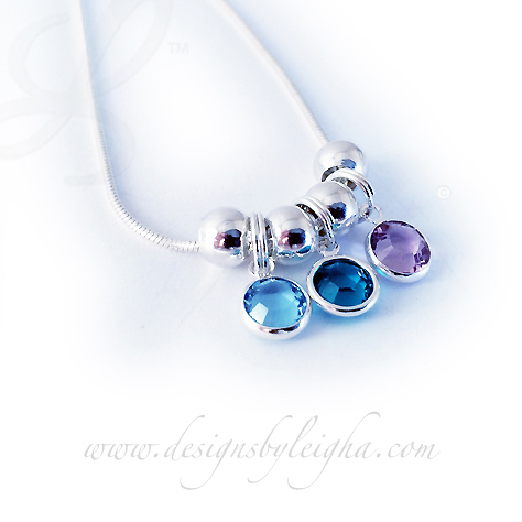 Birthstone Channel Charm Necklace with Spacers - DBL-BN-N12