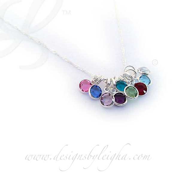 Sterling Silver Birthstone Necklace with 9 birthstones - October, September, June, February, December, August, July, March and April  Necklace: Rolo Chain - Special Order. You cannot add additional charms yourself if you special order the rolo chain. I can and would be glad to add them for you in the future but you would need to send the necklace back to me.
