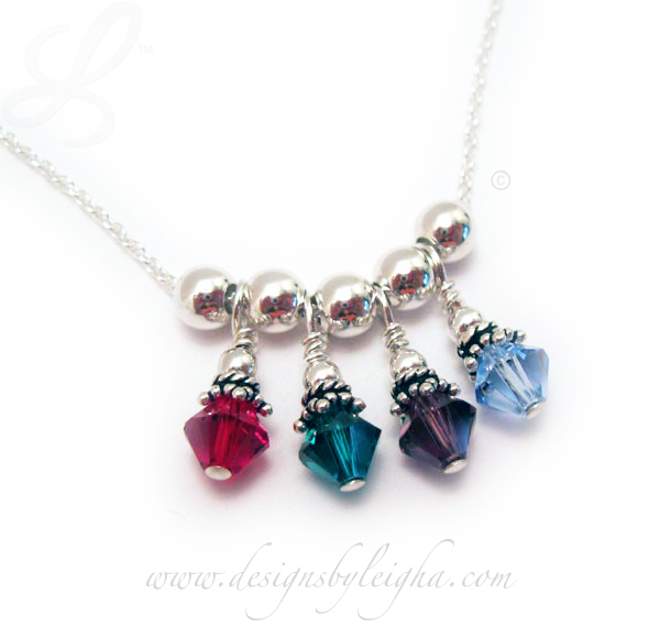 DBL-BN-N4  4 Bicone Birthstone Crystal Necklace July or Ruby, May or Emerald, February or Amethyst and December or Blue Topaz Bicone Swarovski Birthstone Charm with 6mm Round Sterling Silver Spacer Beads.