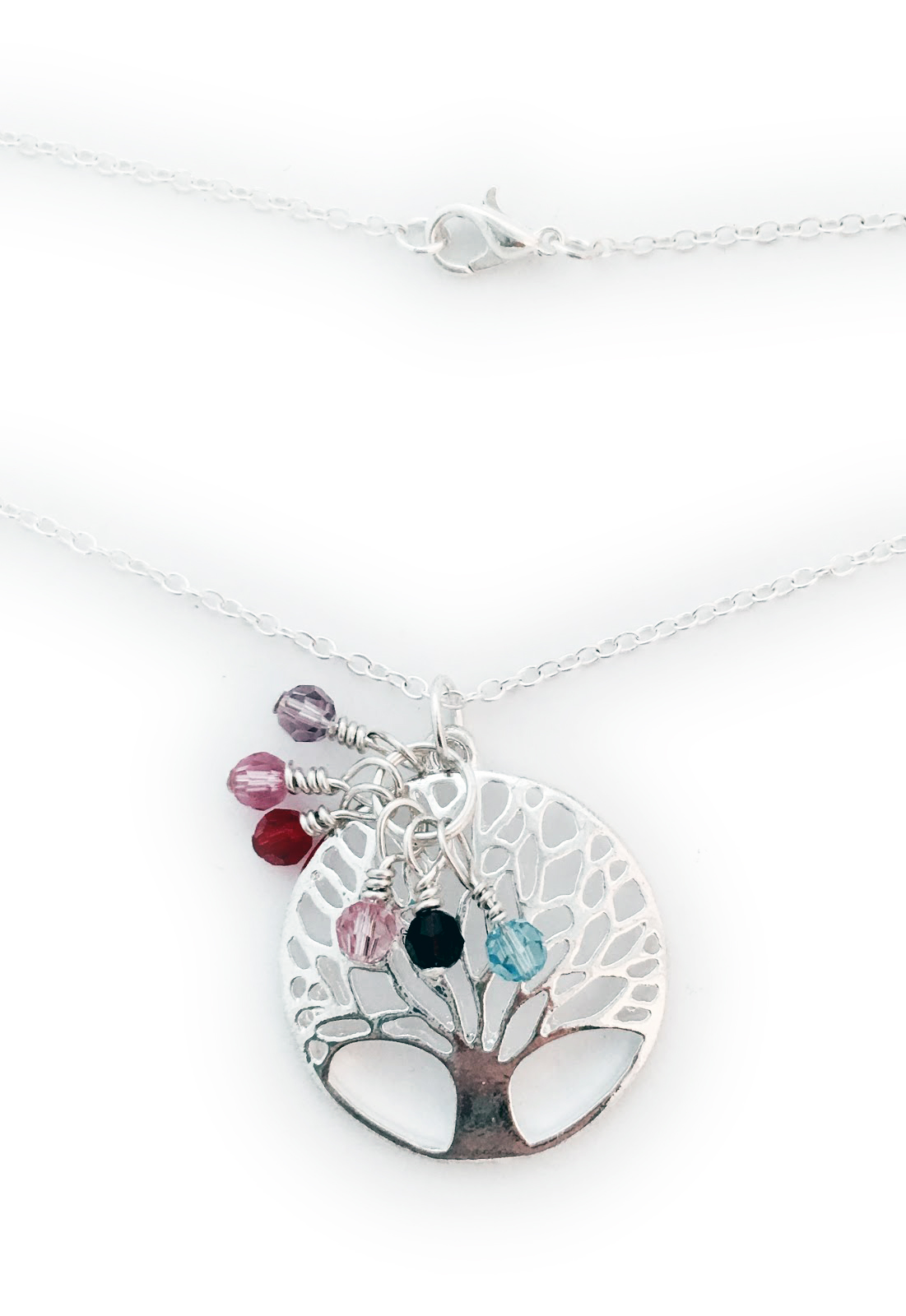 "DBL-BN-Tree-Of-Life Tree of Life or Family Tree Pendant with Birthstone Crystals  Crystals shown: June, October, July, October, January and March Necklace: 18"" rolo chain"