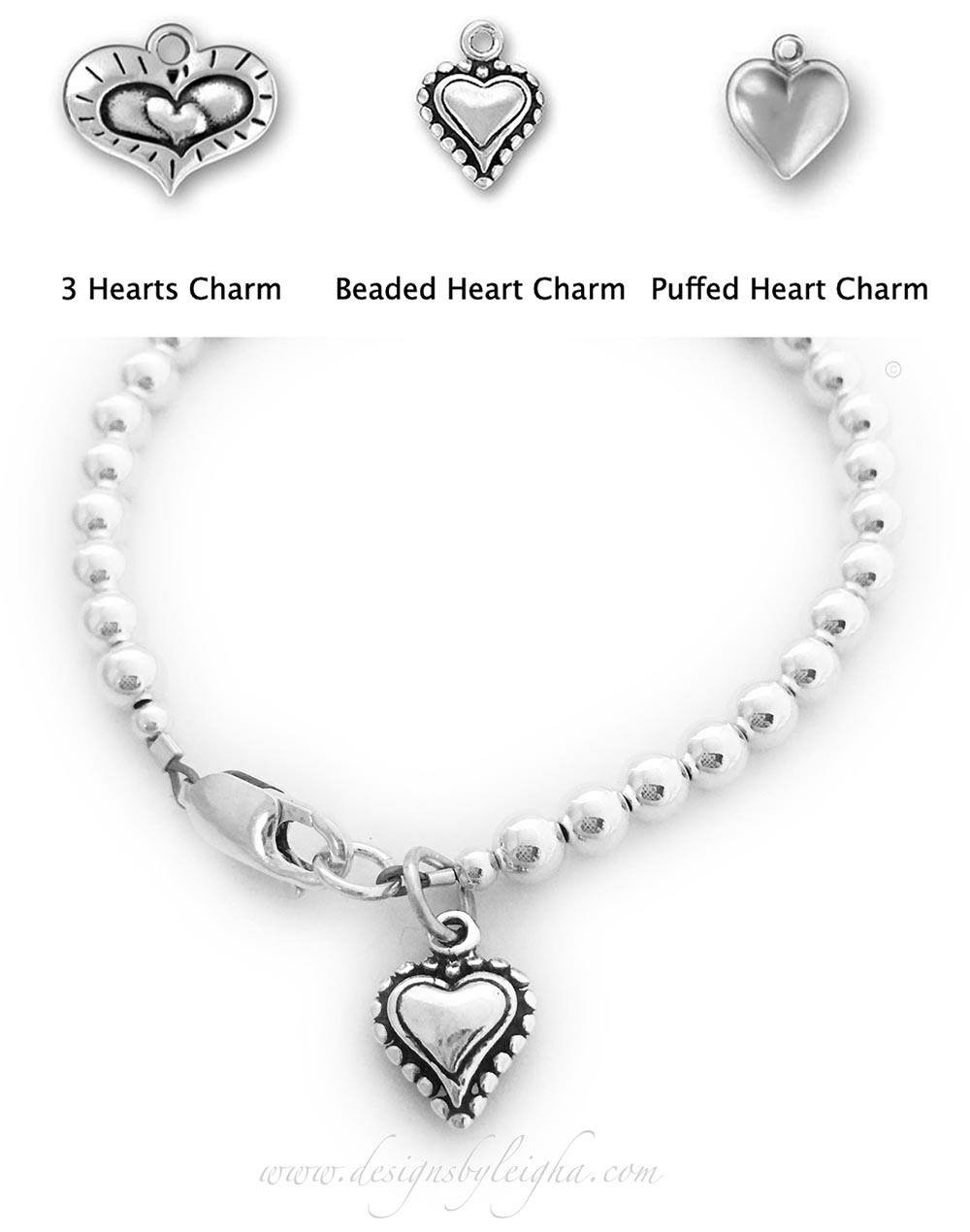 DBL-Val-10-Beaded-Heart-Charm  This Heart Bracelet is shown with a Beaded Heart Charm and shown with a lobster claw clasp.