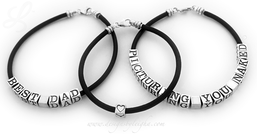 (left) Black Leather Daddy Bracelet with 4 blocks - MJ MH and a Blank Block ... (right) Black Leather Daddy Bracelet with 2 sets of initials MH and MJ and 1 spacer