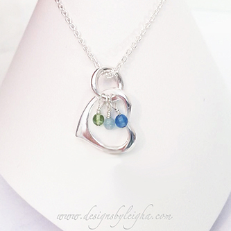 Gemstone Birthstone Necklace shown with 3 birthstone charms Birthstones: August, March, September Chain: .925 sterling silver Rolo Chain