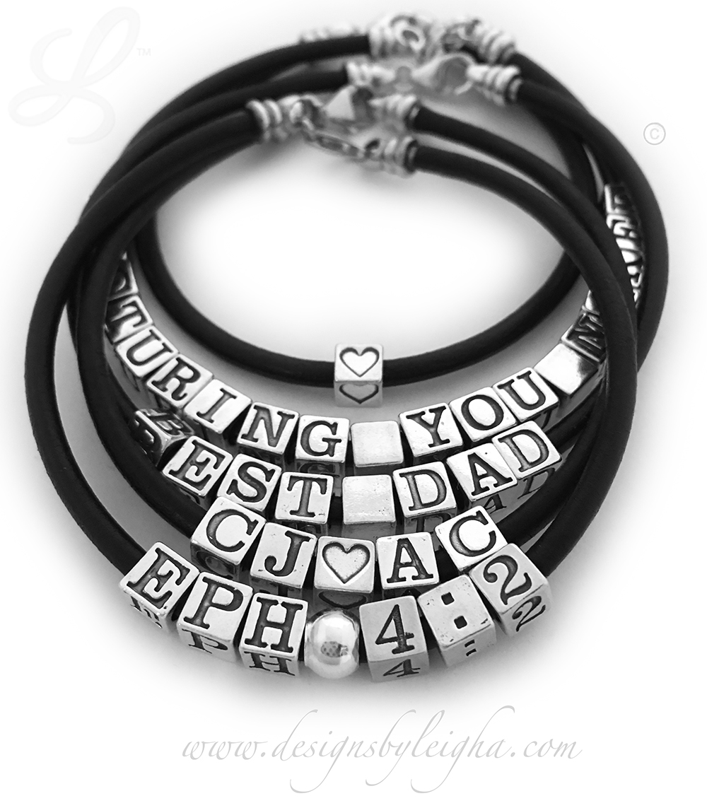 Black Leather Daddy Bracelet - Valentine's Day Gift Ideas for Him
