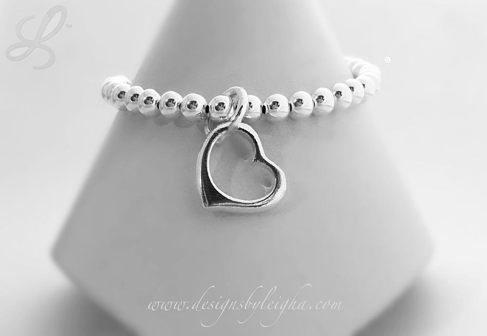 Sterling Silver Beaded Open Heart Charm bracelet - Valentine's Day Gift Ideas