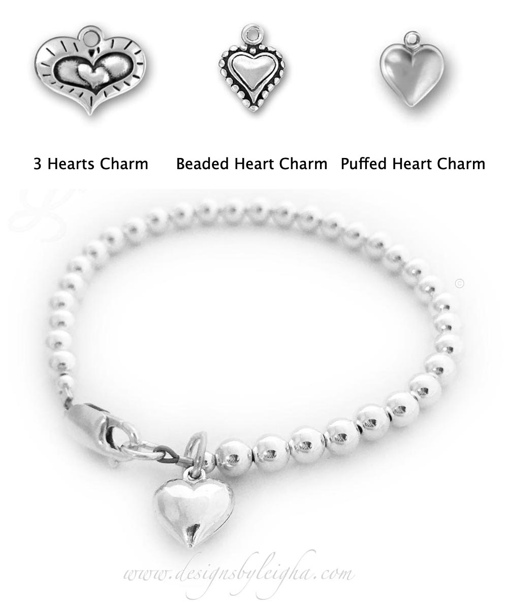 DBL-Val-10-Puffed-Heart-Charm  This Heart Bracelet is shown with a Puffed Heart Charm and shown with a lobster claw clasp.