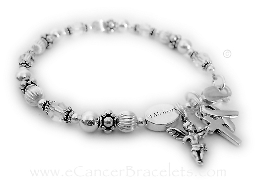 Lung Cancer In Memory Bracelet with Angle, Cross and Ribbon Charms