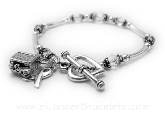 This Lung Cancer Awareness Bracelet comes with the Ribbon charm shown. They upgraded the clasp from one of my free lobster or toggles to a Heart Toggle Clasp and they added a Prayer Box Charm to their order.