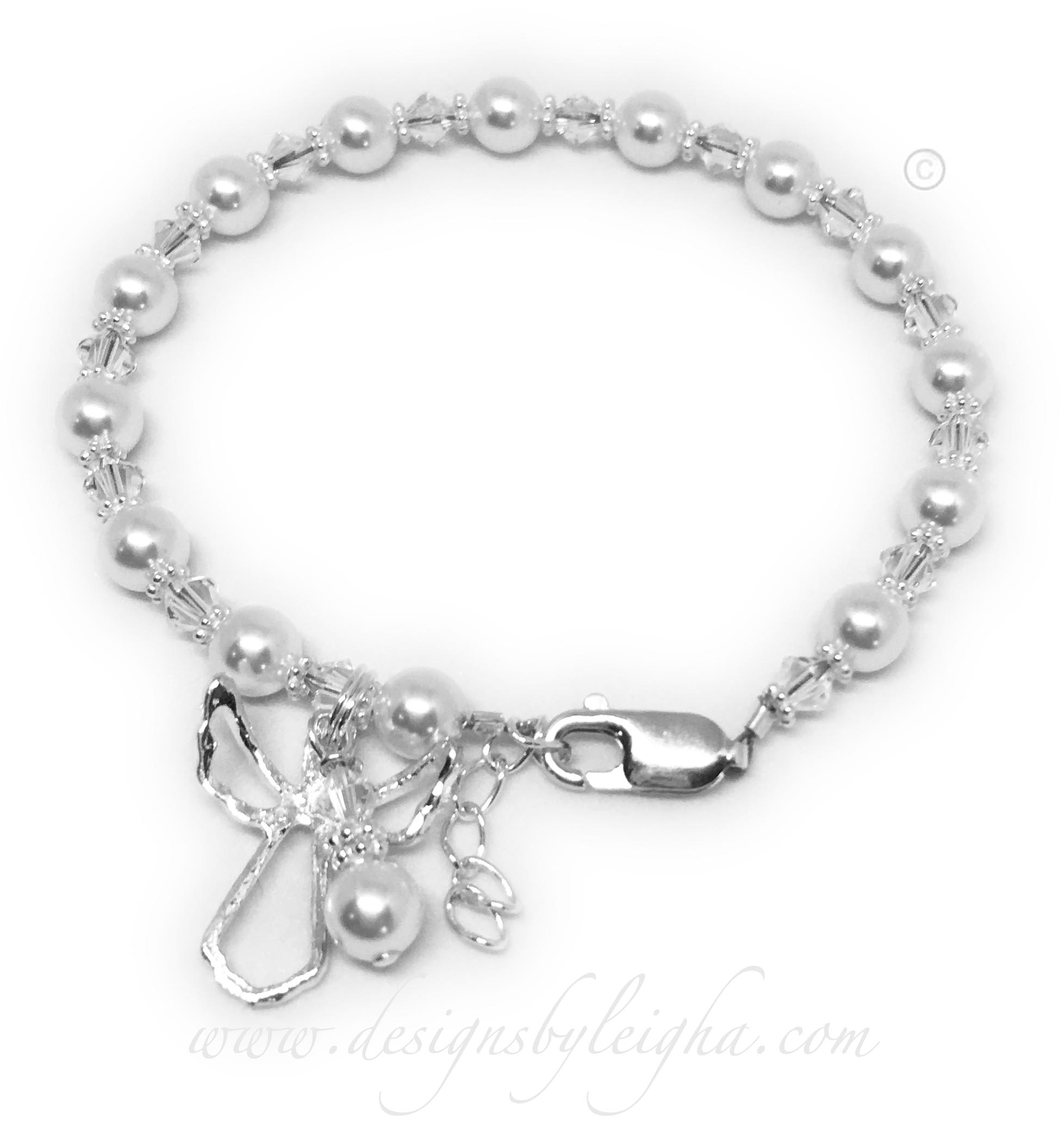 Guardian Angel Bracelet shown with White Swarovski Pearls for Lung Cancer.