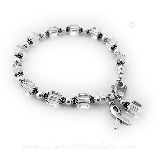 Lung Cancer Ribbon Bracelet for Lung Cancer Awareness Jewelry