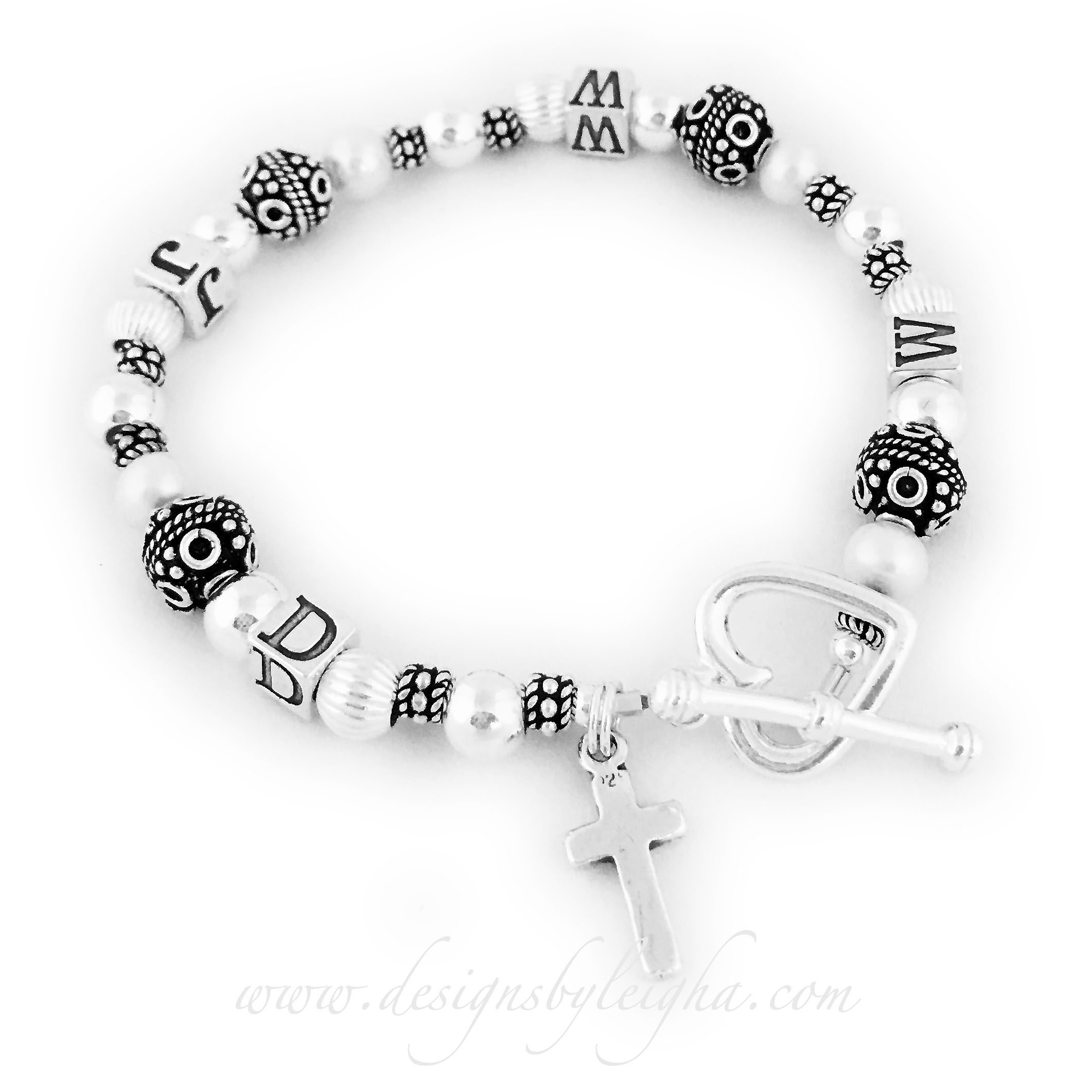 What Would Jesus Do Bracelet with two upgrades/add-ons: Heart Toggle Clasp and a Simple Cross Charm.