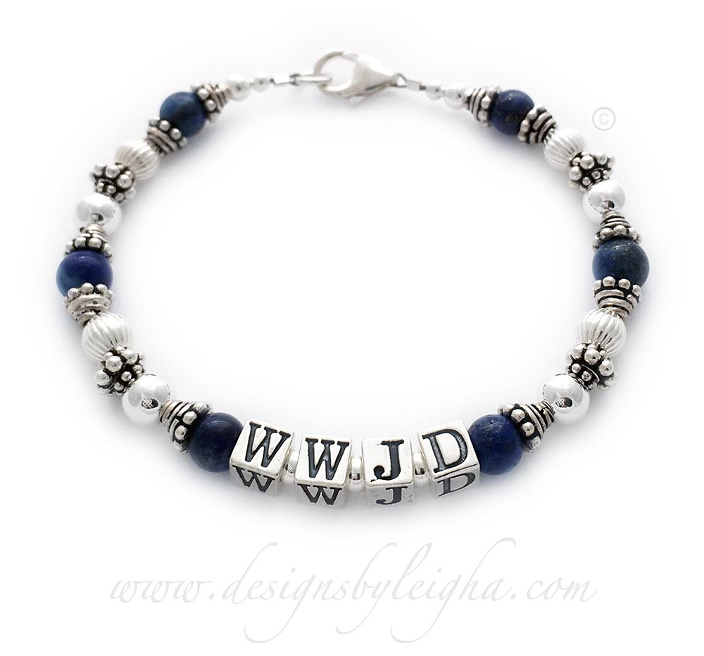 DBL-WWJD-7  Lapis Lazuli What Would Jesus Do Bracelet - Shown with a lobster claw clasp, 5.5mm block letters and no charms.